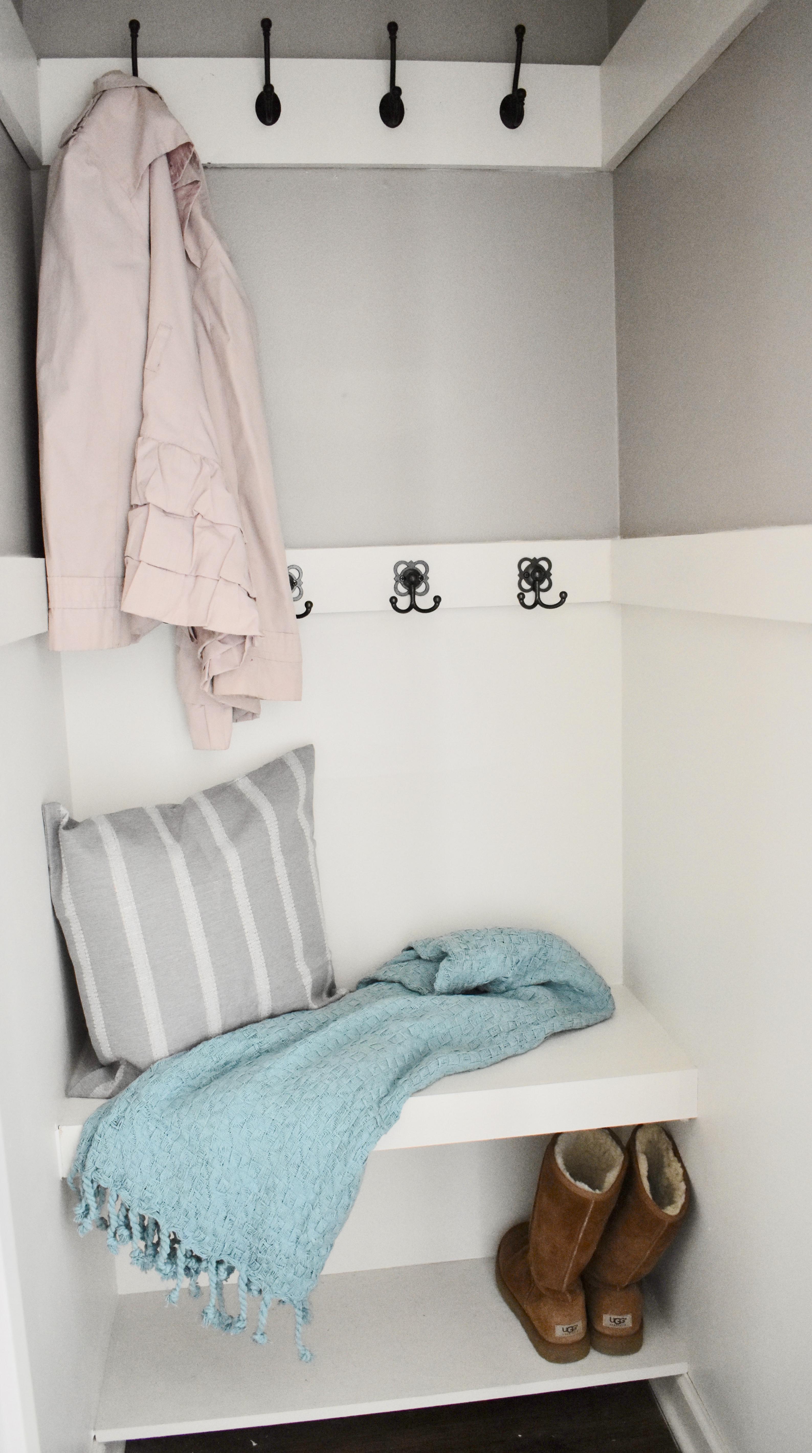Coat Closet, Coat Closet, coat closet renovation, under $50, refresh, storage solutions, coat closet storage, closet makeover, diy shelving, lowes, hooks, coat handger, diy floating shelf