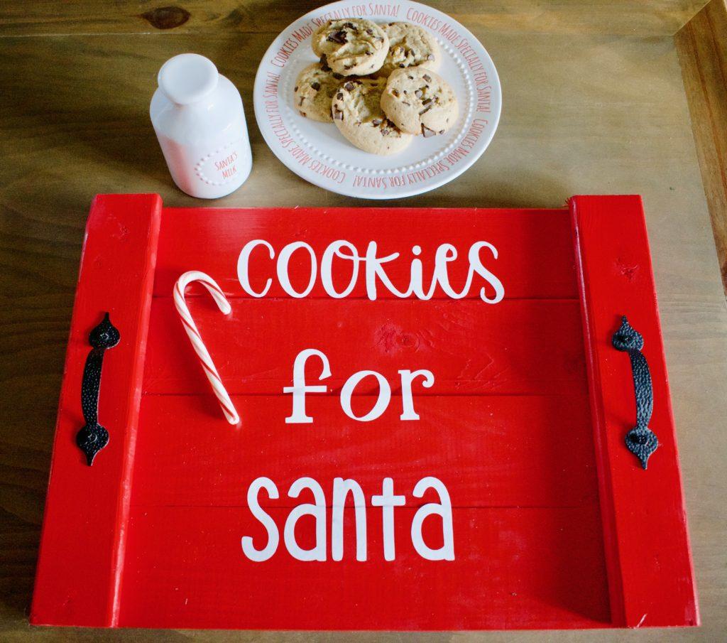 cookies for santa tray, santa tray, dear santa cookie tray, cookie svg, cookie tray, cookies for santa svg, Christmas platter for cookies, large Christmas cookie platter, Deck the halls, at home DIY, Santa cookie tray, diy, diy wood tray, Christmas decor, Christmas craft, rust oleum, scrap wood diy, project, scrap wood project, holiday decor, 2 hour project