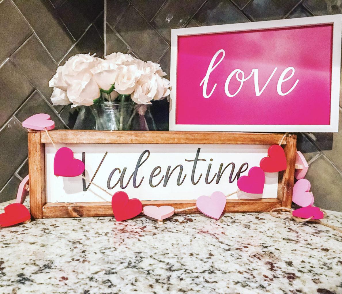 valentine, valentine signs, valentines wood signs, valentine project, wood signs, dollar tree decor, dollar tree valentine decor, Cricut project, Cricut valentine project,