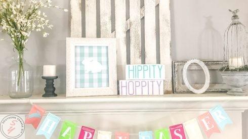 Easter, easter decor, rae dunn decor, Rae Dunn Signs, farmhouse decor, napkin rings, spring tablescape, moss napkin rings, easter banner, garland, easter cricut project