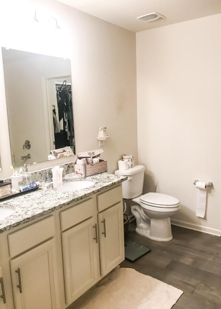 Before photo, bathroom molding, replacing bathroom molding, replacing molding, replacing baseboards, bathroom baseboards, mdf for baseboards, before photo bathroom renovation, before photo bathroom makeover